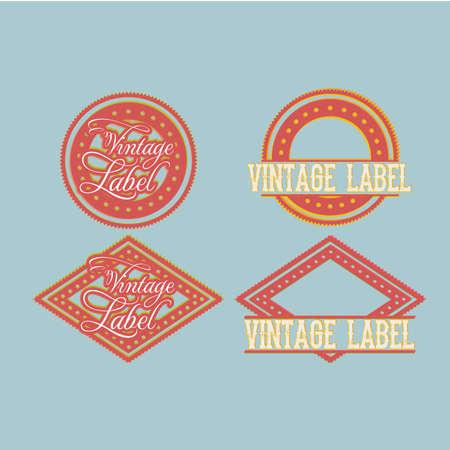 circle frame: vintage label over blue  background vector illustration Illustration