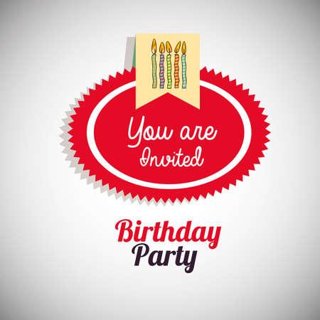 invited: birthday  design over  gray  backgrund vector illustration