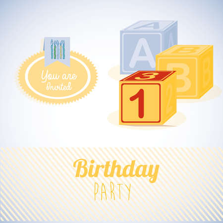 birthday  design over gray   backgrund vector illustration  Illustration