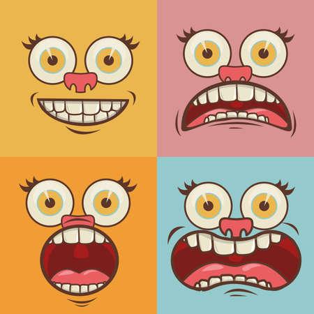 cartoon gezichten meer dan kleuren achtergrond vector illustratie