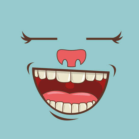 closed mouth: cartoon faces over blue background vector illustration