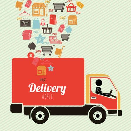 article marketing: delivery design over lineal background vector illustration