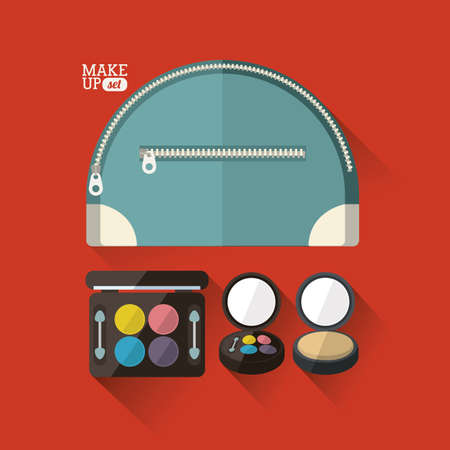 cosmetics design over red background vector illustration Vector
