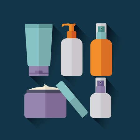 facial care: cosmetics design over blue background vector illustration