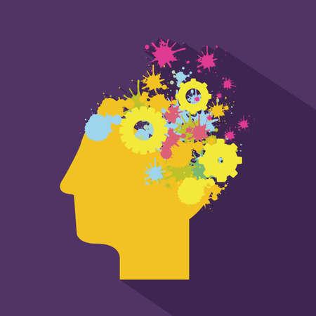 denk ontwerp over paarse achtergrond vector illustratie Stock Illustratie
