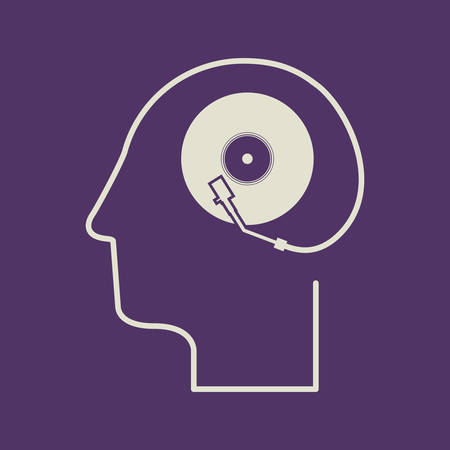 mental object: think design over purple background vector illustration Illustration