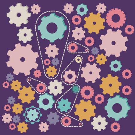 gearshift: gears design over purple background vector illustration