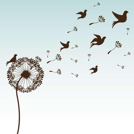 bird: diseño de flores sobre fondo azul ilustración vectorial