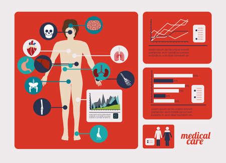 human bones: medical dsign over red  background vector illustration