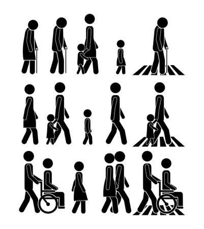 yürüyüş: beyaz arka plan vektör çizim üzerinde yürüme tasarım