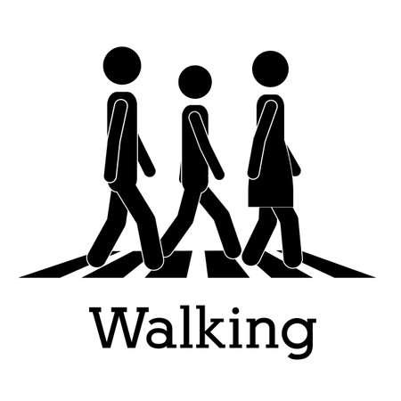 yürüyüş: beyaz arka vektör çizim üzerinde yürüme tasarım Çizim