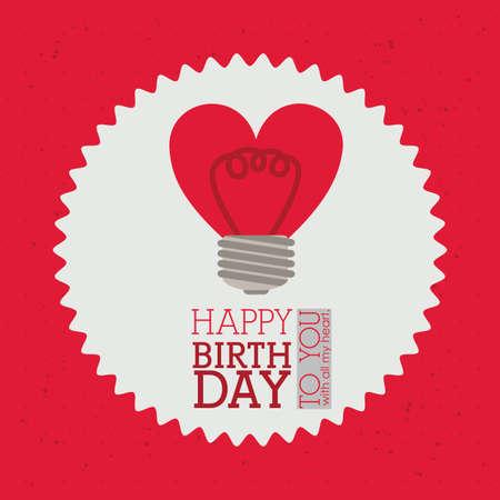 backgrund: happy birthday  design over red  backgrund vector illustration