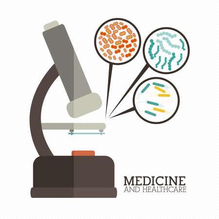 bacteria microscope: medical design over white  background vector illustration