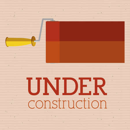 under construction over  pink background vector illustration   Vector