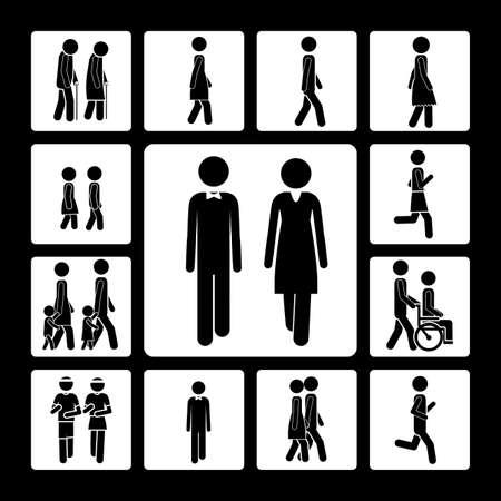 pedestrian walkway: walking design over black background vector illustration