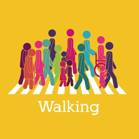 walking design over yellow background vector illustration Vector
