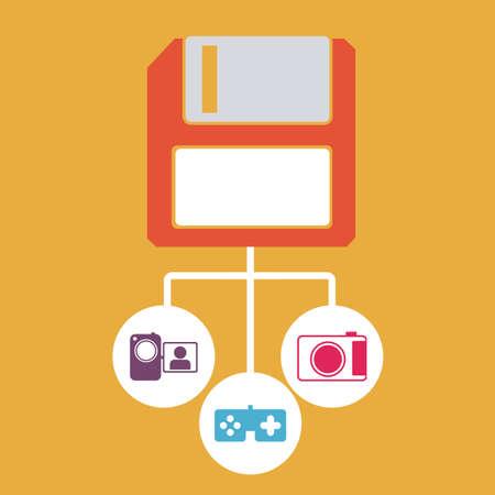 social media  over  orange background vector illustration