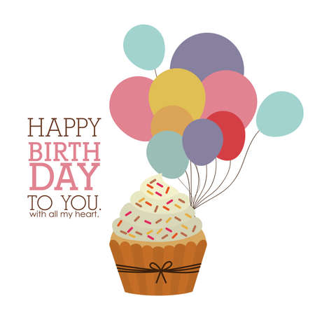 birthday cupcakes: happy birthday  design over white  backgrund vector illustration  Illustration