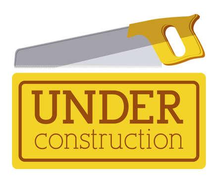 warning saw: under construction over  white background vector illustration