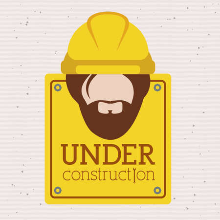 in the reconstruction: under construction over   background vector illustration