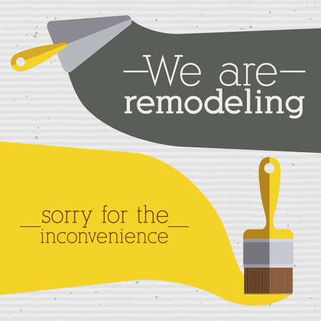 sorry: under construction over dotted  background vector illustration