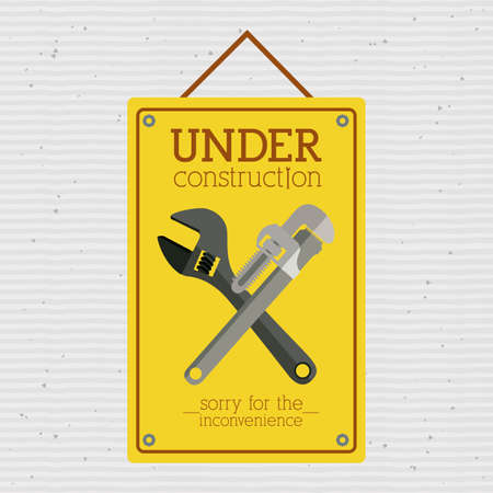 under construction over  dotted background vector illustration    Vector