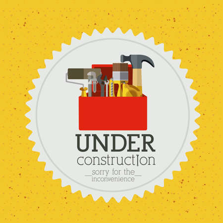 in the reconstruction: under construction over yellow  background vector illustration