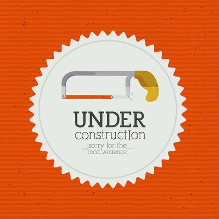 inconvenience: under construction over  orange background vector illustration    Illustration