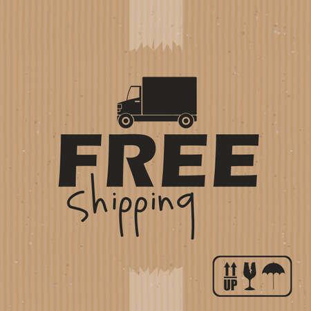 bannière business: conception de livraison sur fond brun illustration vectorielle Illustration