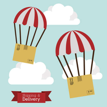 article marketing: delivery design over sky background vector illustration