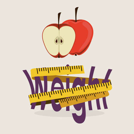 over weight: lose weight over  white background vector illustration Illustration