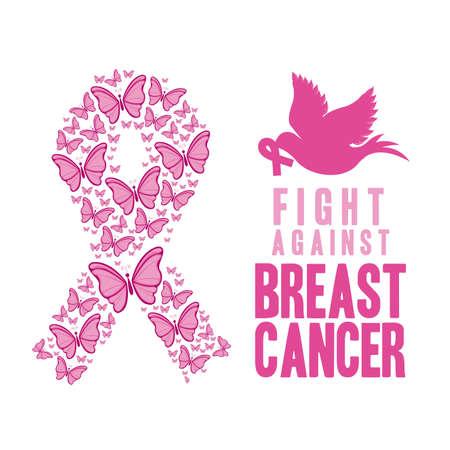 breast cancer over  white background vector illustration Vector