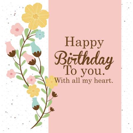happy birthday  design over pink background vector illustration Stock Vector - 27181401
