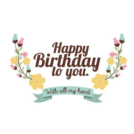 happy birthday  design over white background vector illustration Stock Vector - 27181403