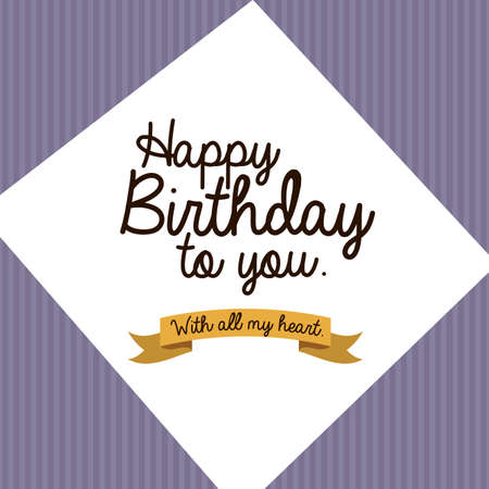 happy birthday  design over purple background vector illustration  Stock Vector - 27181412