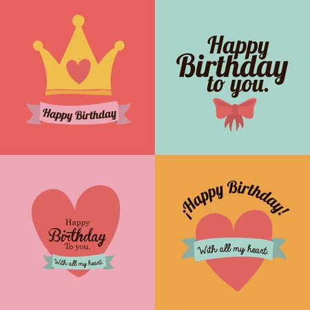 queens birthday: happy birthday  design over colors background vector illustration