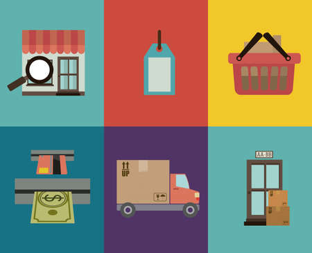 market place: shopping design over colors   background vector illustration
