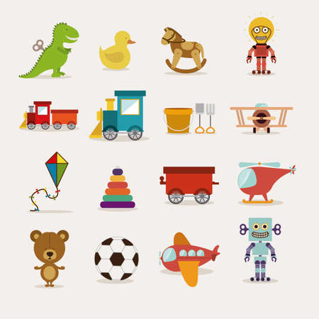 baby toys over white   background vector illustration Çizim