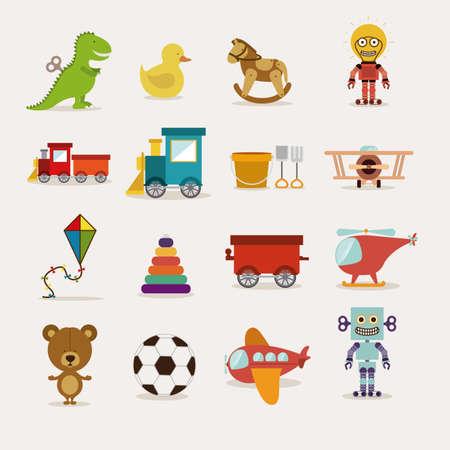 jouets de bébé sur fond blanc illustration vectorielle