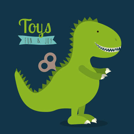 dinosaurio caricatura: diseño de juguetes bebé sobre fondo azul ilustración vectorial
