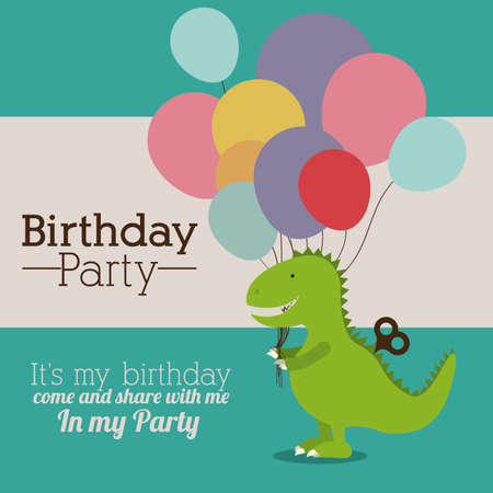 birthday cards: Birthday party,vector illustration
