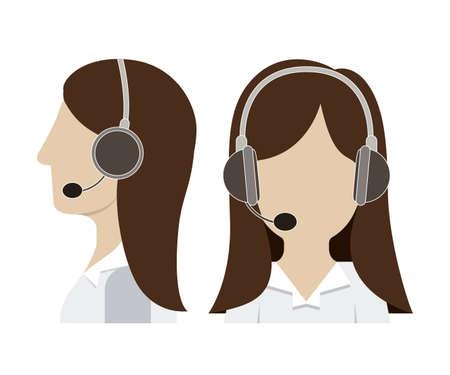 Call center agent over white background, vector illustration Vector