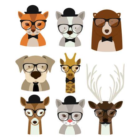 Animal hipster design  Çizim