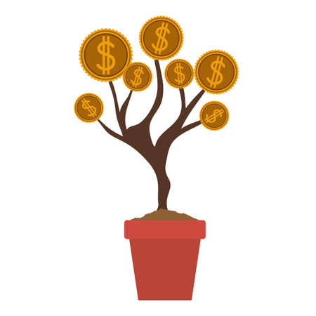 commercial tree care: Money tree design over gray background, vector illustration