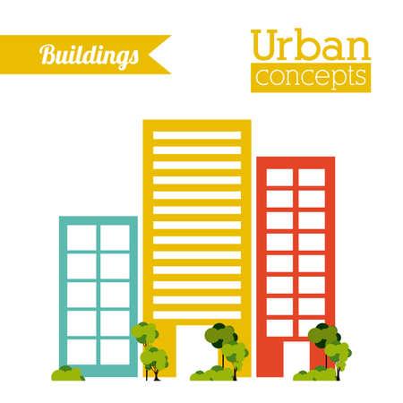 enviromental: Dise�o urbano edificio sobre el fondo blanco, ilustraci�n vectorial