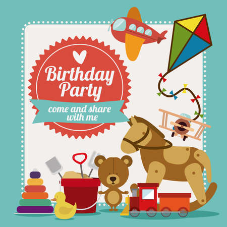 kids and toys: Birthday party design over blue background,vector illustration Illustration