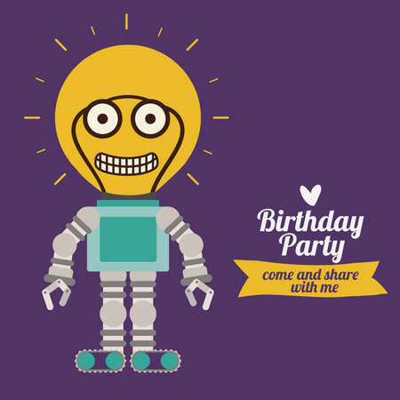 Birthday party design over purple background,vector illustration Vector