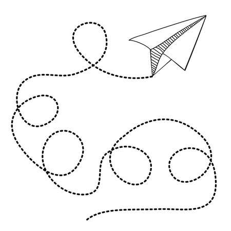 흰색 배경, 벡터 일러스트 레이 션을 통해 종이 비행기 디자인