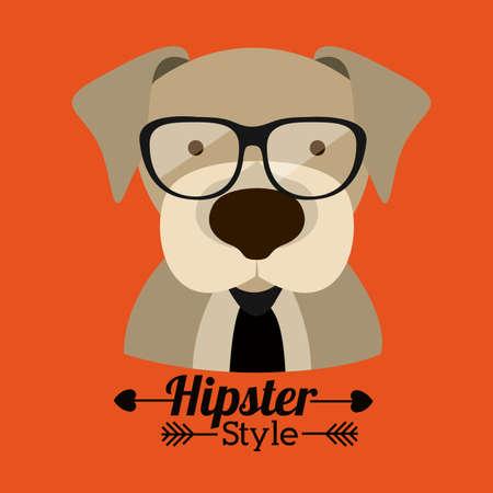 funny dogs: Animal hipster design over orange background,vector illustration Illustration