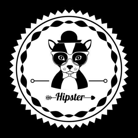Animal hipster design over black background,vector illustration Vector